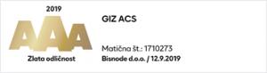 GIZ ACS prejel najvišjo bonitetno oceno odličnosti AAA